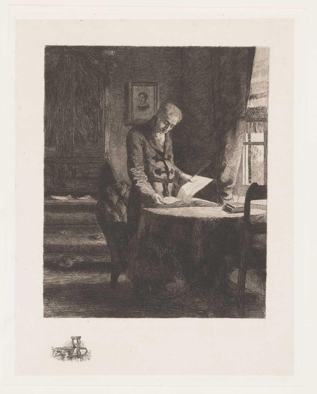 Interieur met lezende man