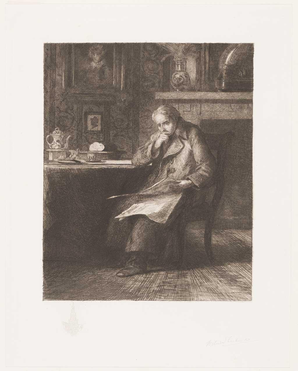 Interieur met krant lezende man