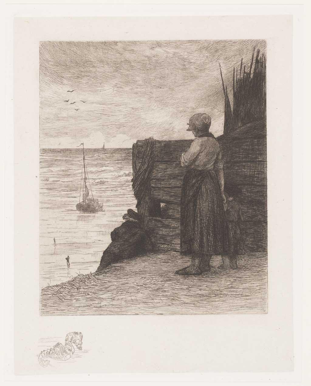 Zeegezicht, op de voorgrond een meisje met kind