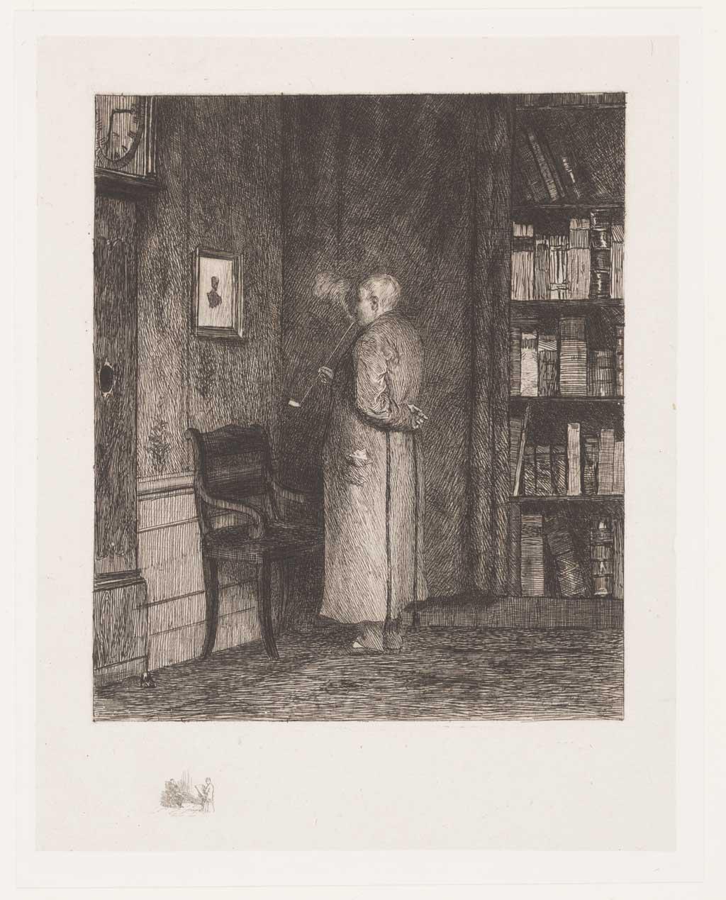 Interieur met pijp rokende man in kamerjas