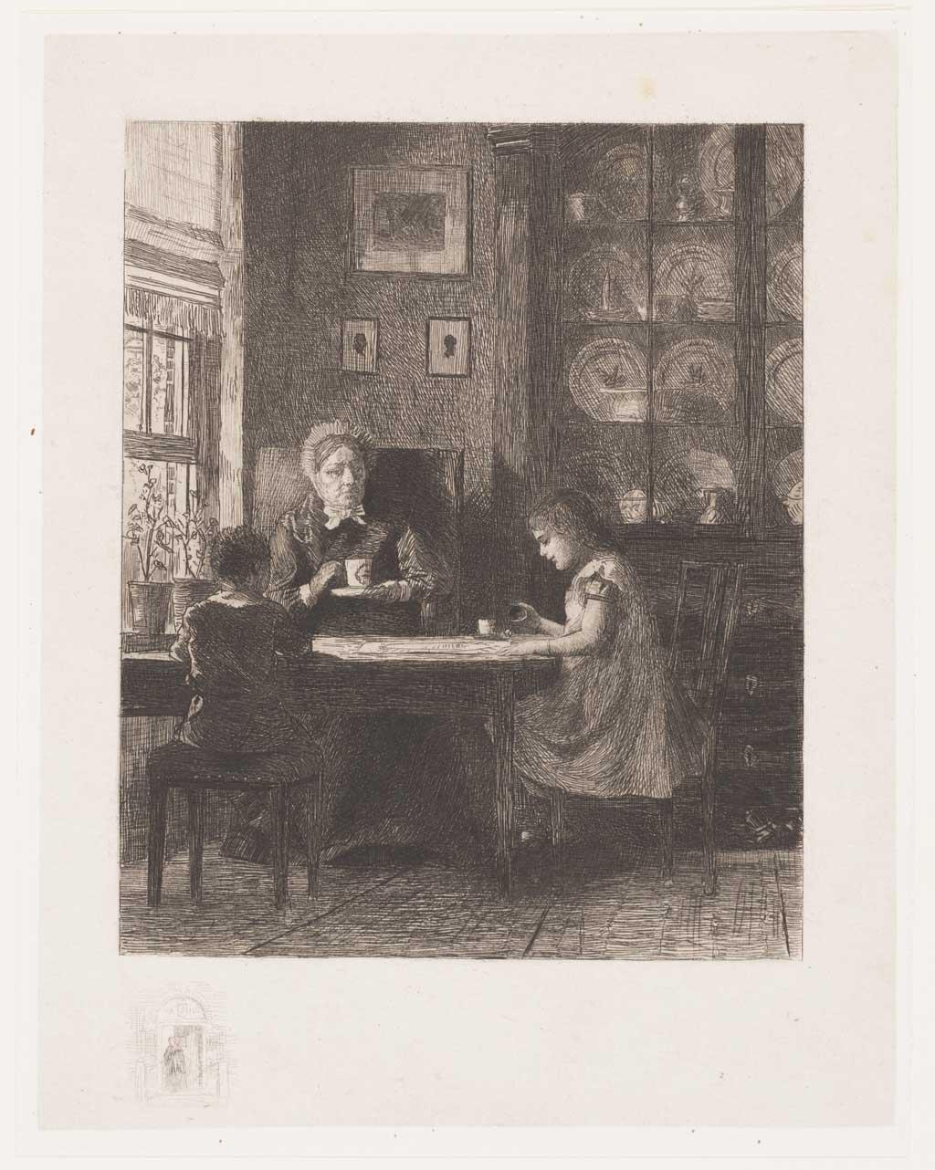 Interieur met vrouw en twee kinderen aan een tafel