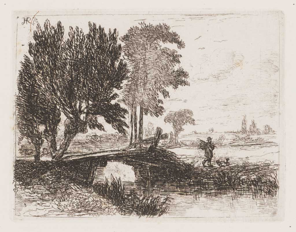 Landschap met bruggetje