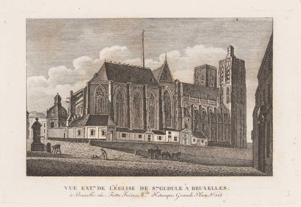 Vue exterieure de l'église de Sainte Gudule à Bruxelles