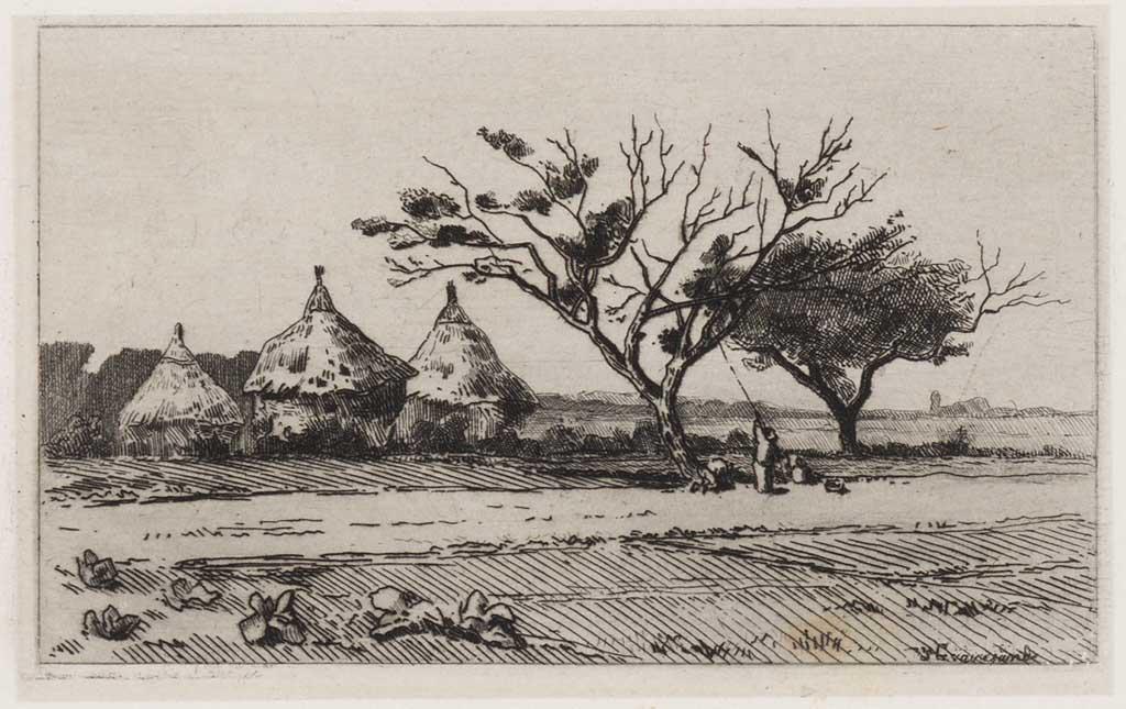 Landschap met drie hooimijten