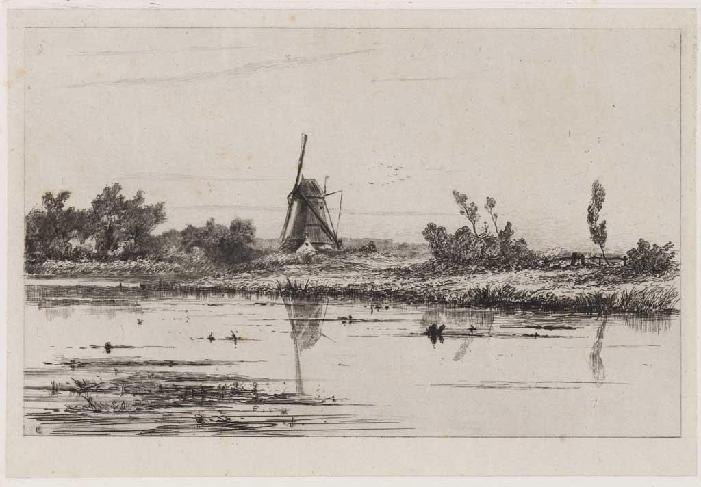 Landschap met molen aan rivier