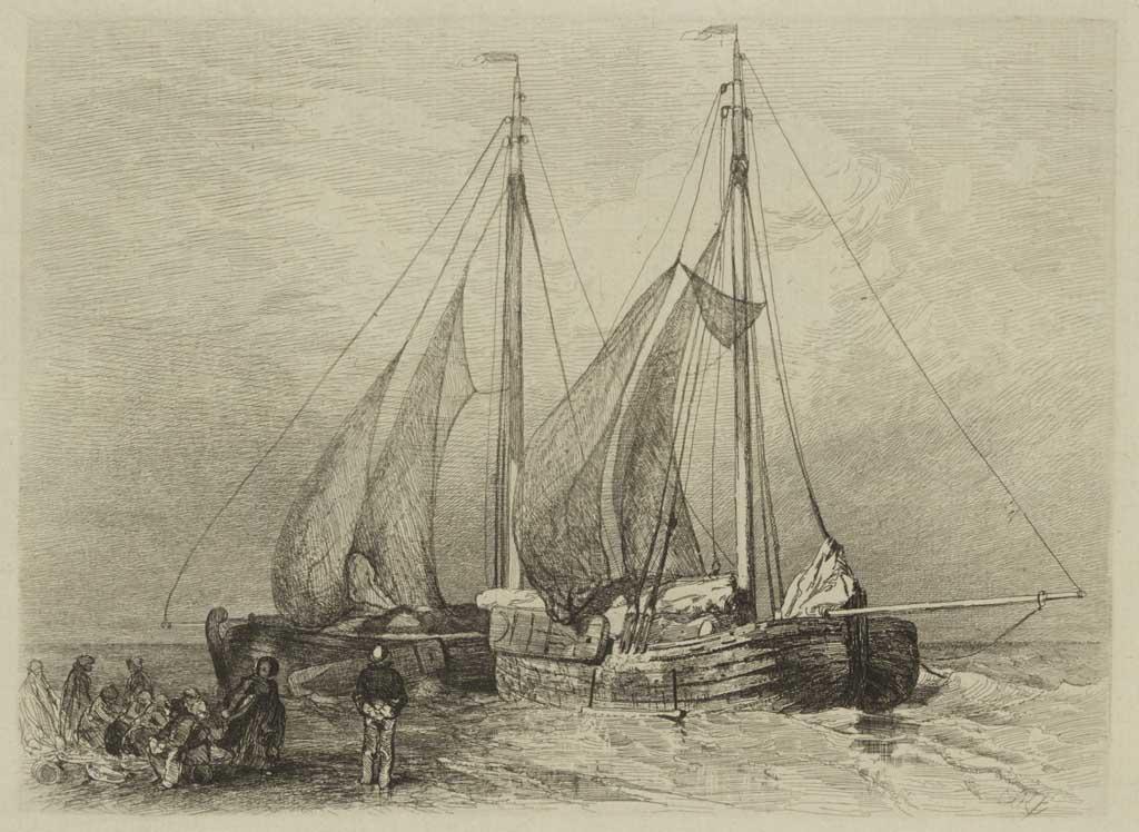 Bomschuiten voor de kust