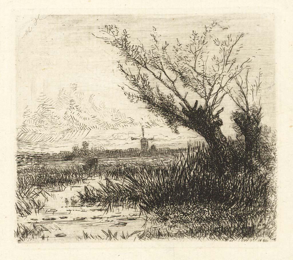 Landschap met plassen en molen