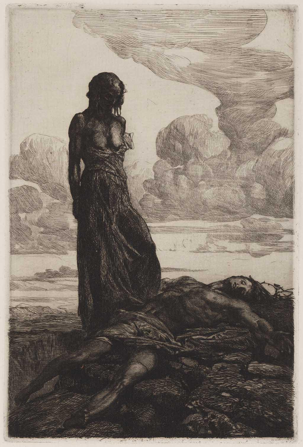 Vrouw staande bij een liggende man