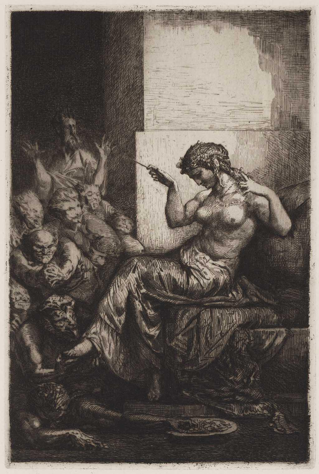 Vrouw en satijrs