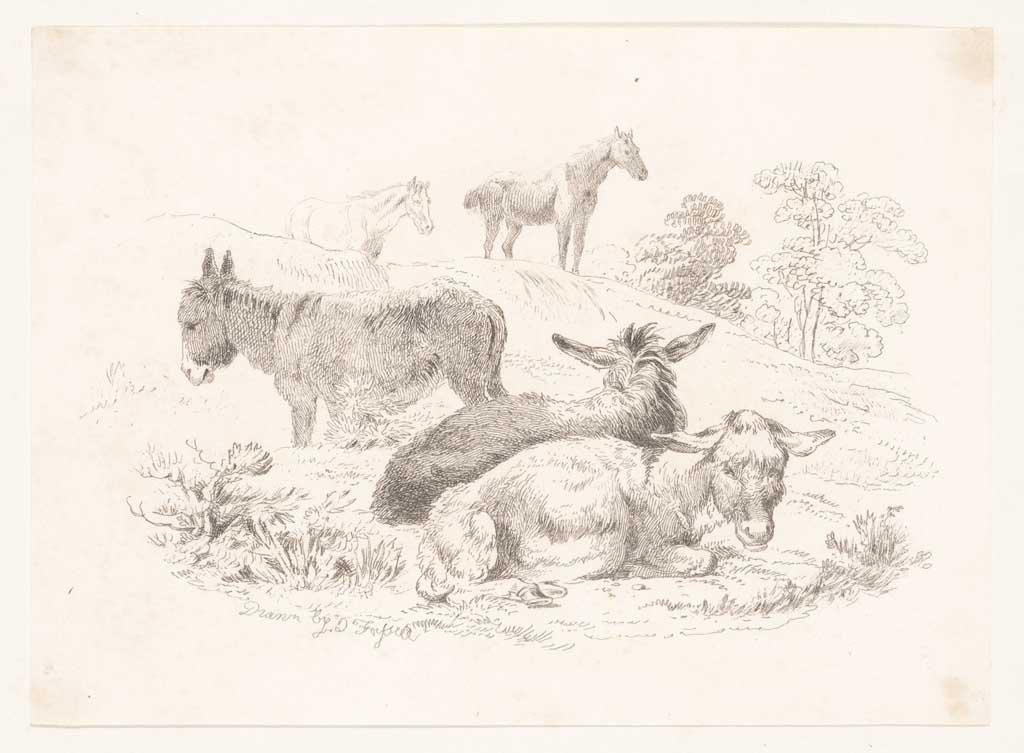 Landschap met drie liggende ezels en twee paarden