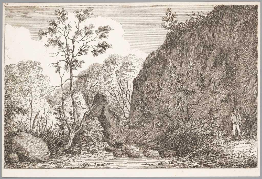 Landschap met man en hond
