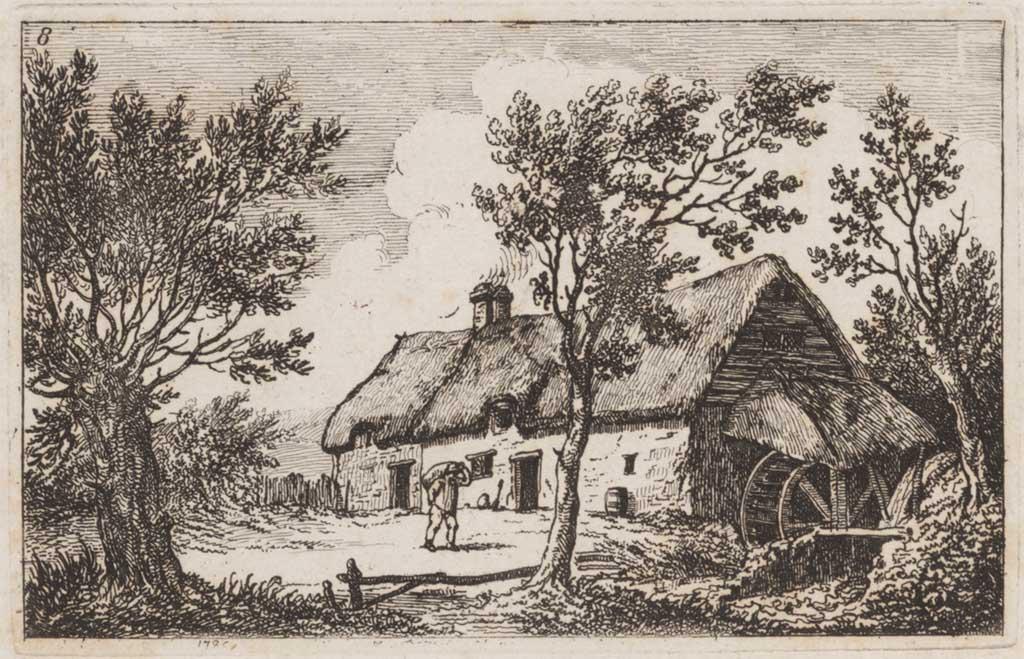 Landschap met huis en waterrad