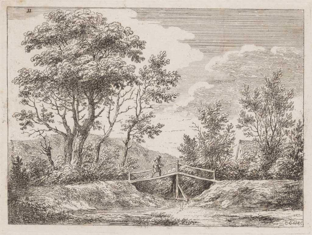 Landschap met man op brug