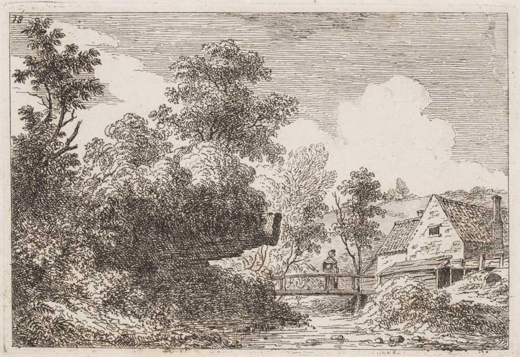Landschap met vrouw op brug