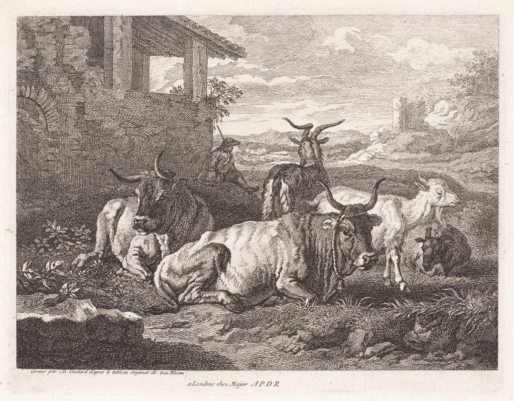 Landschap met herder, runderen en geiten
