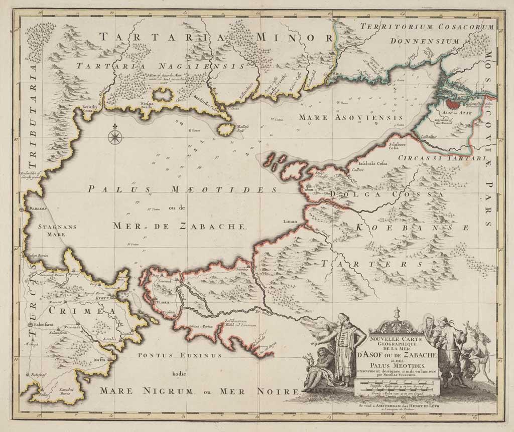Kaart van de Zee van Azow, de Zwarte Zee en Oekraïne