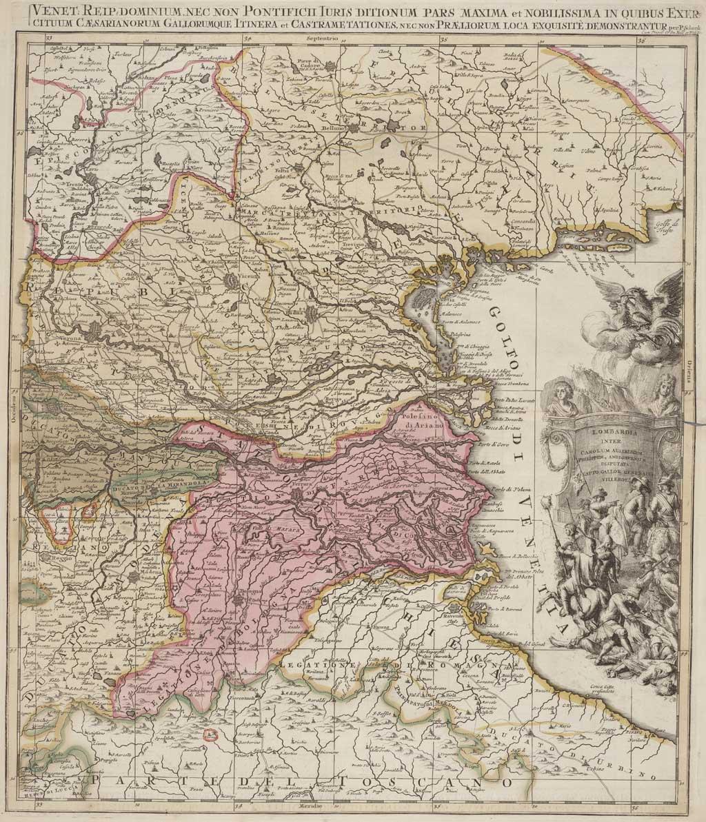 Kaart van Lombardije (Noord-Italië)
