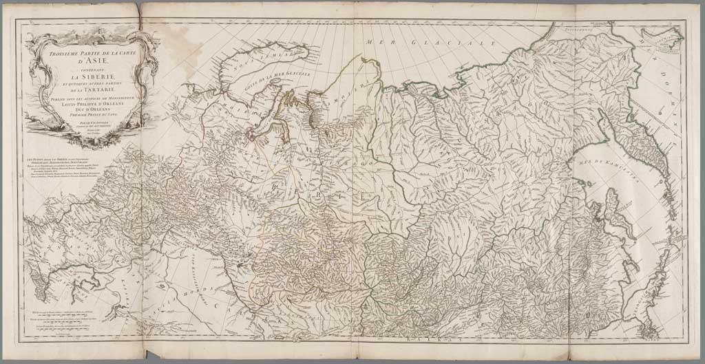 Troisième partie de la carte d'Asie, contenant la Sibérie, et quelques autres parties de la Tartarie