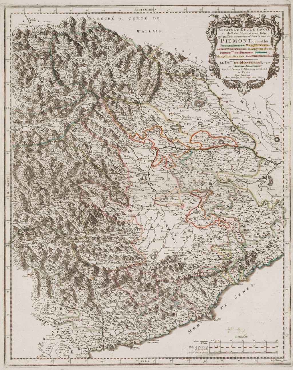 Estats du duc de Savoye au delà des Alpes, et vers l'Italie; qui passent communem.t sous le nom de Piemont. ou sont les duché d'Auost, marq.sat d'Yvree, seign.rie de Verceil, marq.sat de Suse, princip.té de Piemont, co.te d'Ast, marq.sat de Saluce, co.tat de Nice &c
