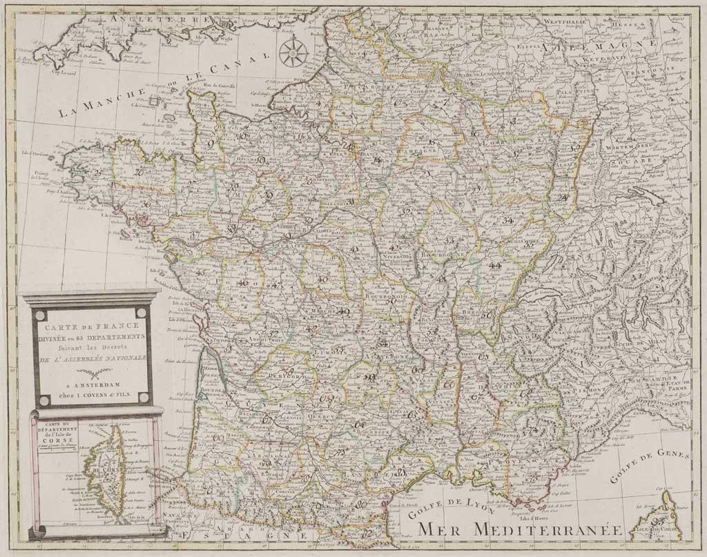 Kaart van Frankrijk en Corsica