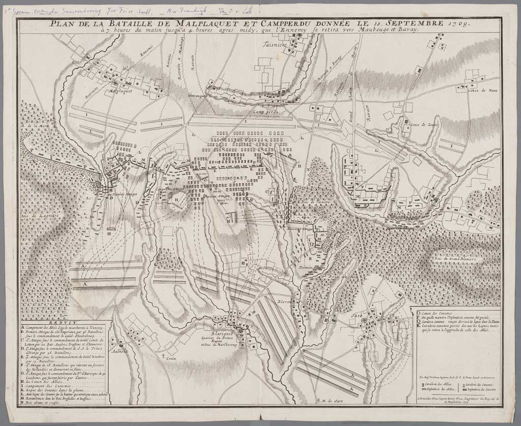 Kaart van de slag bij Malplaquet, 1709