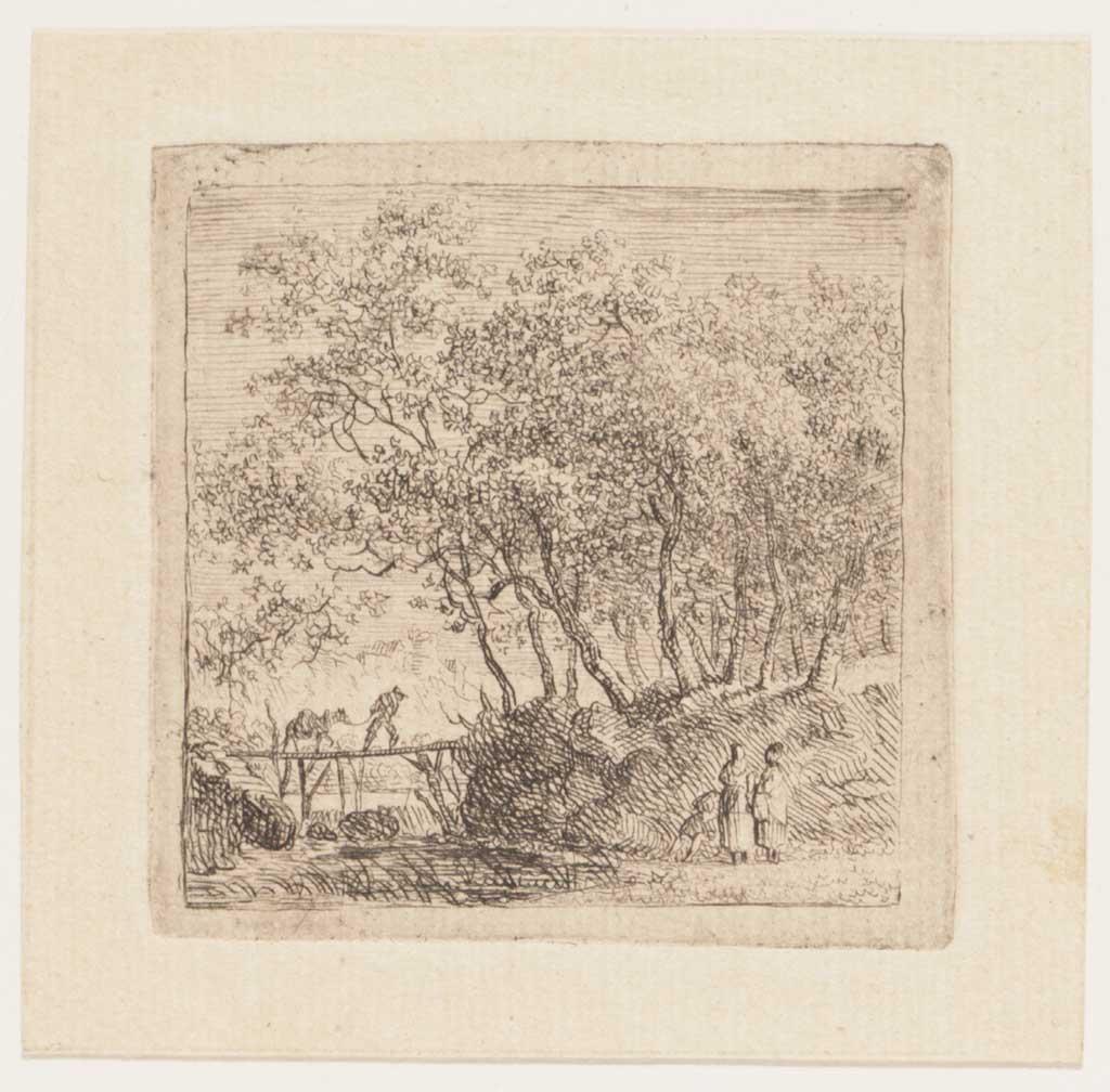 Landschap met bomen en drie figuren