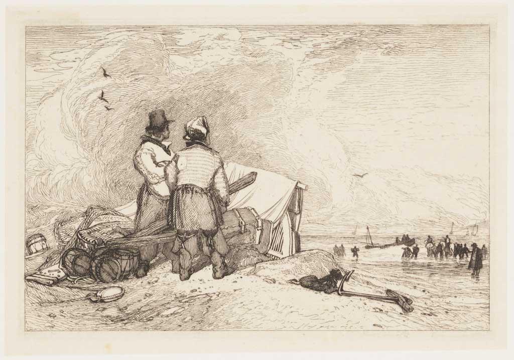 Zeegezicht met twee mannen bij de overblijfselen van een scheepswrak