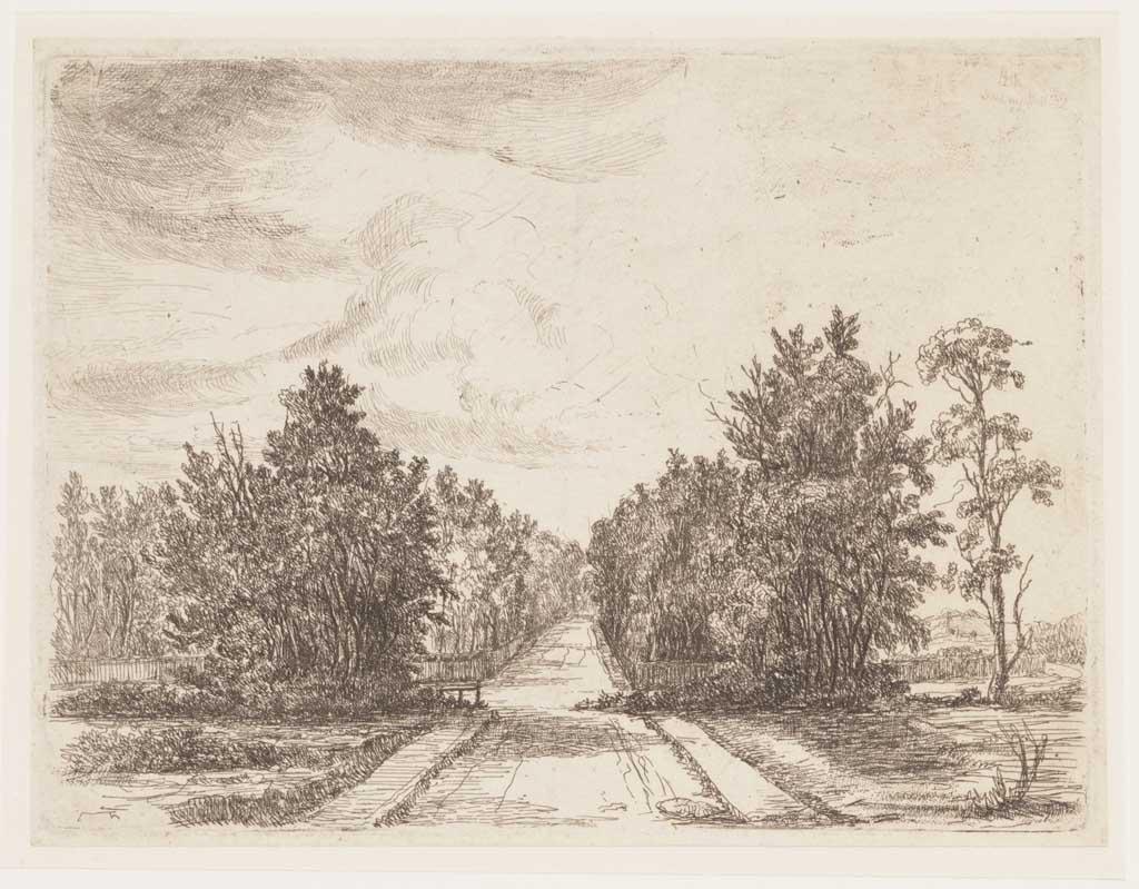 Landschap met in het midden een breed pad