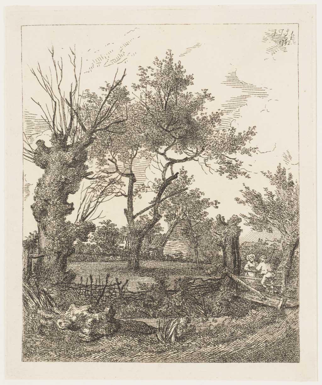 Landschap met knotwilgen en een huis