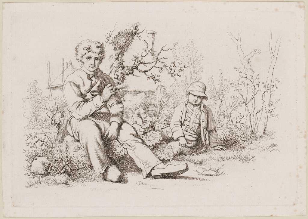 Rustende boer en zoon