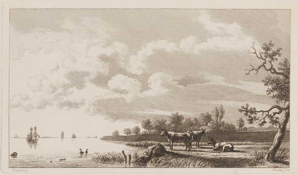 Landschap met links water met zeilschepen