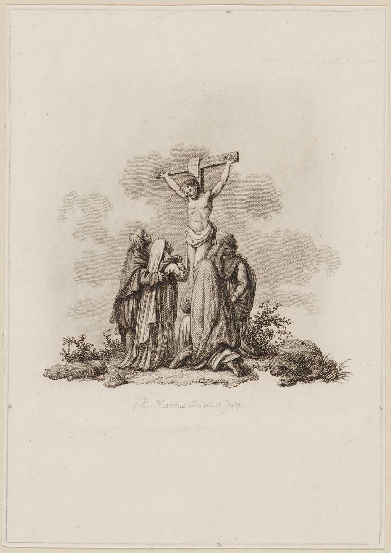 Christus aan het kruis met wenende vrouwen
