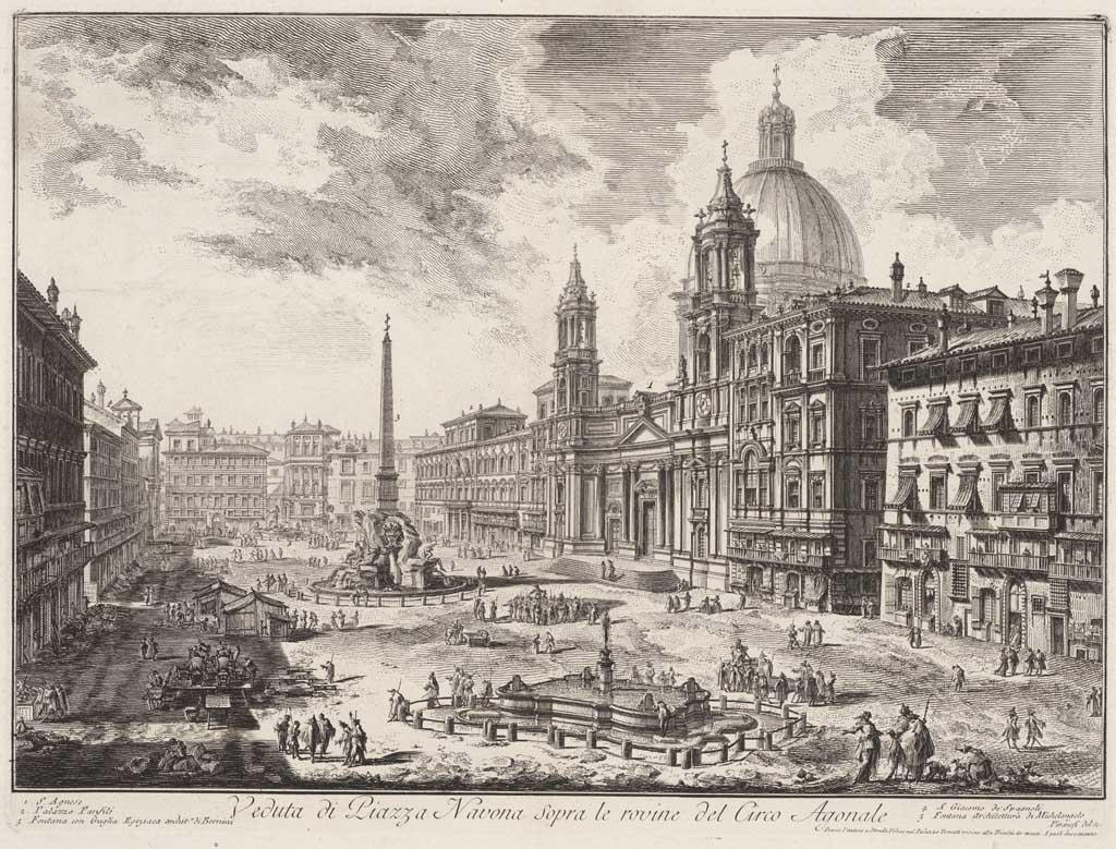 Veduta di Piazza Navona sepra le rovine del Circo Agonale