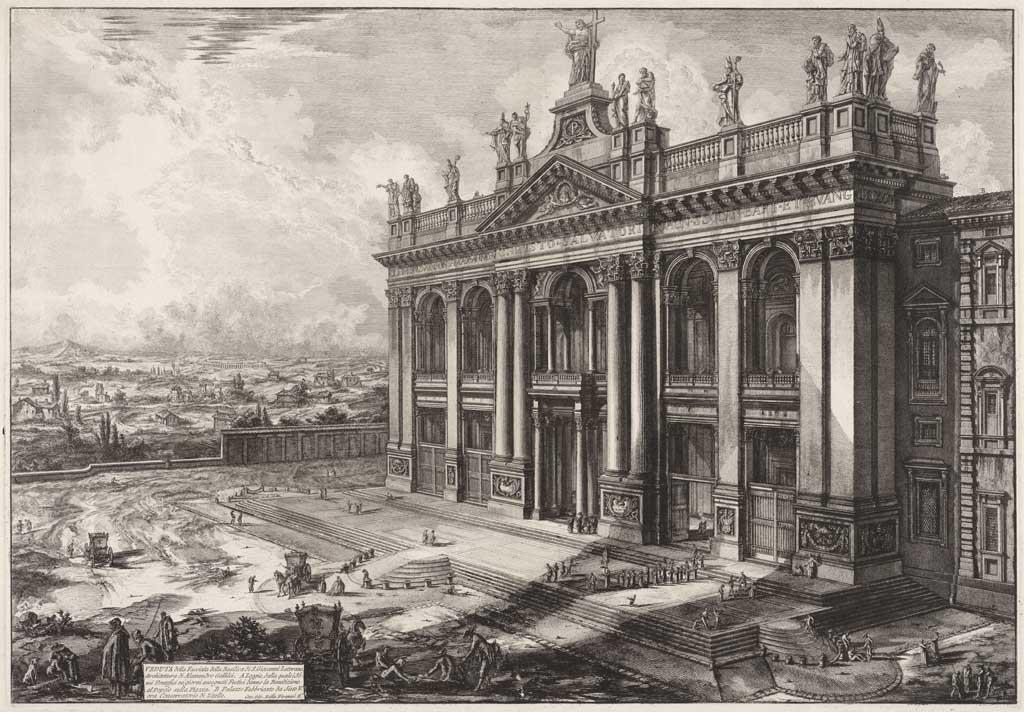Veduta della Facciata della Basilica di S. Giovanni Laterano