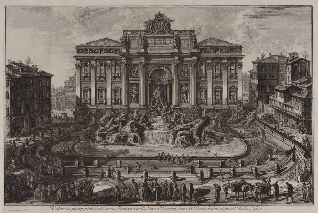 Veduta in prospettiva della gran Fontana dell'Acqua Virgine detta di Trevi Architeturra di Nicole Salvi