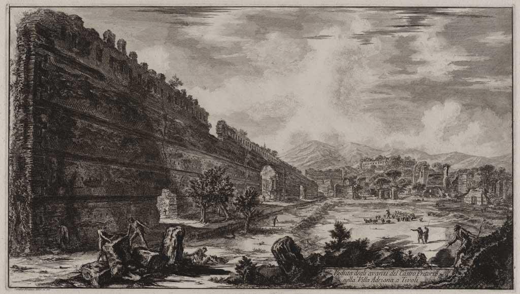 Veduta degli avanzi del Castro Pretotio nella Villa Adriana a Tivoli