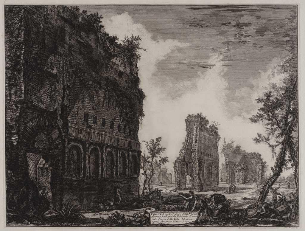 Veduta degli avanzi della Circon ferenza delle antiche Fabbriche di una delle Piazza della Villa Adriana oggidi chiamata Piazza d'oro