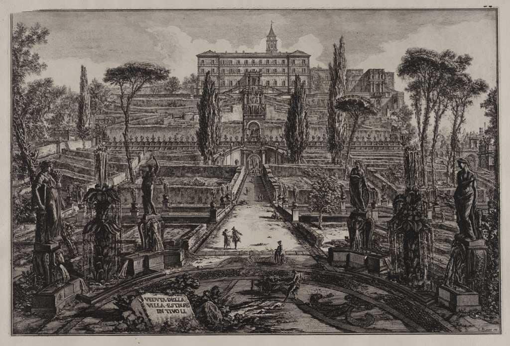 Veduta della villa Estne in Tivoli