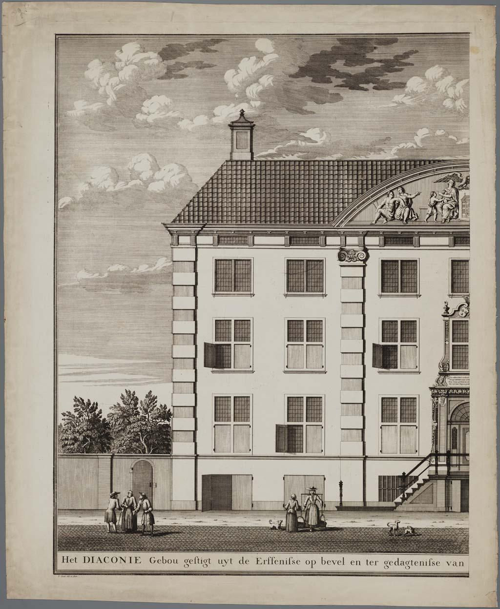 Het diaconie Gebou gestigt uyt de Erfenisse op bevel en ter gedagtenisse van Wylen den Ed. Heer en Mr. Ian Corver & Vrouwe Sara Maria Trip, 1723, 2-delige prent van het Corvershof, Nieuwe Heerengracht, Amsterdam (voorzijde)(linkerhelft)