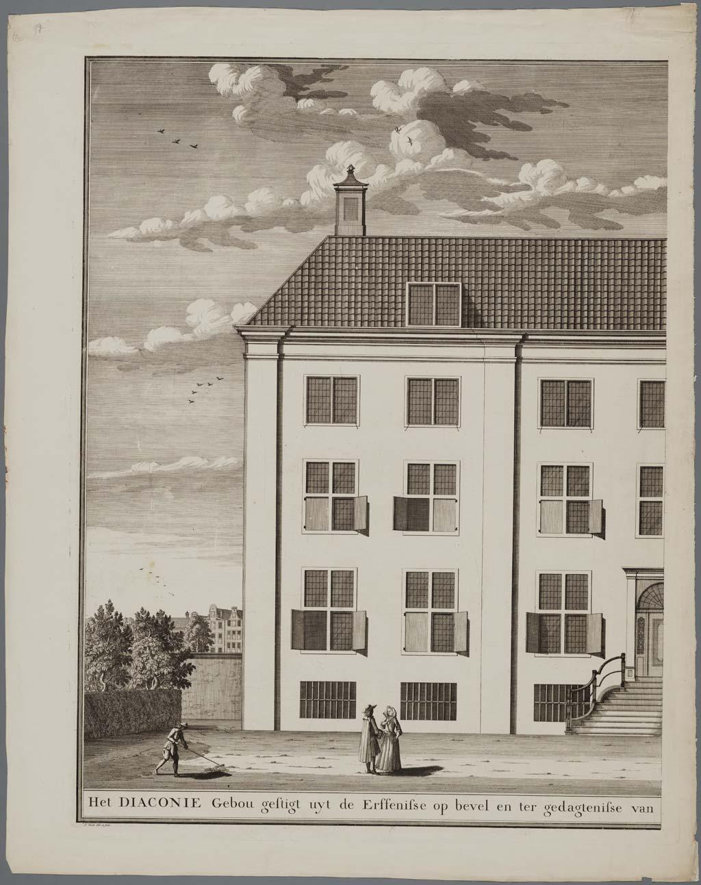 Het diaconie Gebou gestigt uyt de Erfenisse op bevel en ter gedagtenisse van Wylen den Ed. Heer en Mr. Ian Corver & Vrouwe Sara Maria Trip, 1723, 2-delige prent van het Corvershof, Nieuwe Heerengracht, Amsterdam (achterzijde)(linkerhelft)