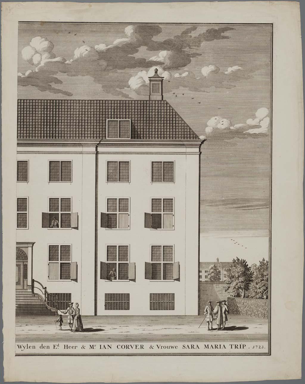 Het diaconie Gebou gestigt uyt de Erfenisse op bevel en ter gedagtenisse van Wylen den Ed. Heer en Mr. Ian Corver & Vrouwe Sara Maria Trip, 1723, 2-delige prent van het Corvershof, Nieuwe Heerengracht, Amsterdam (achterzijde)(rechterhelft)