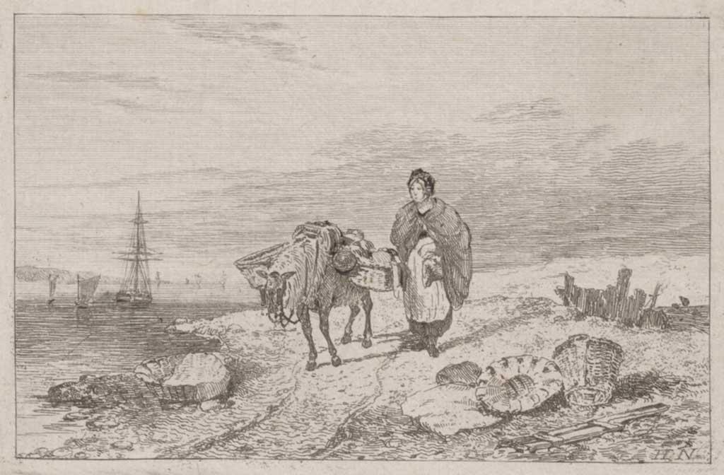 Landschap aan de kust met bepakte ezel en vrouw