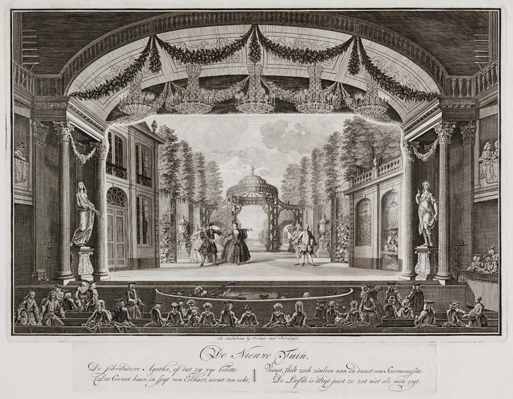 De Nieuwe Tuin (schouwburgprent nr. 11 uit serie: Afbeeldingen der decoratiën van den verbranden Amsterdamschen Schouwburg