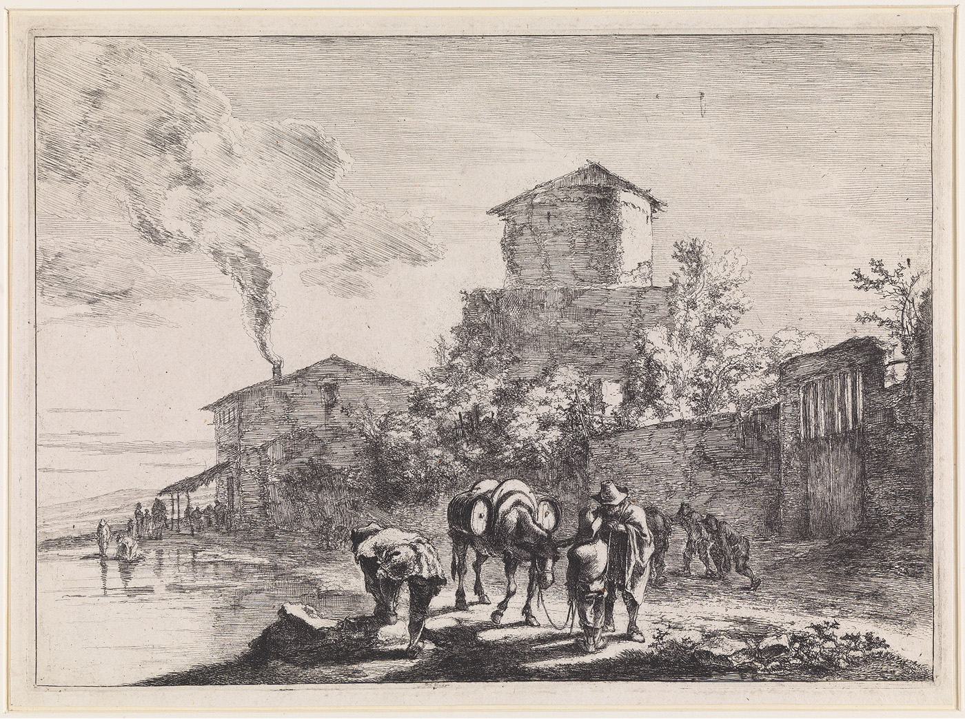 Landschap, waarin huis met rokende schoorsteen