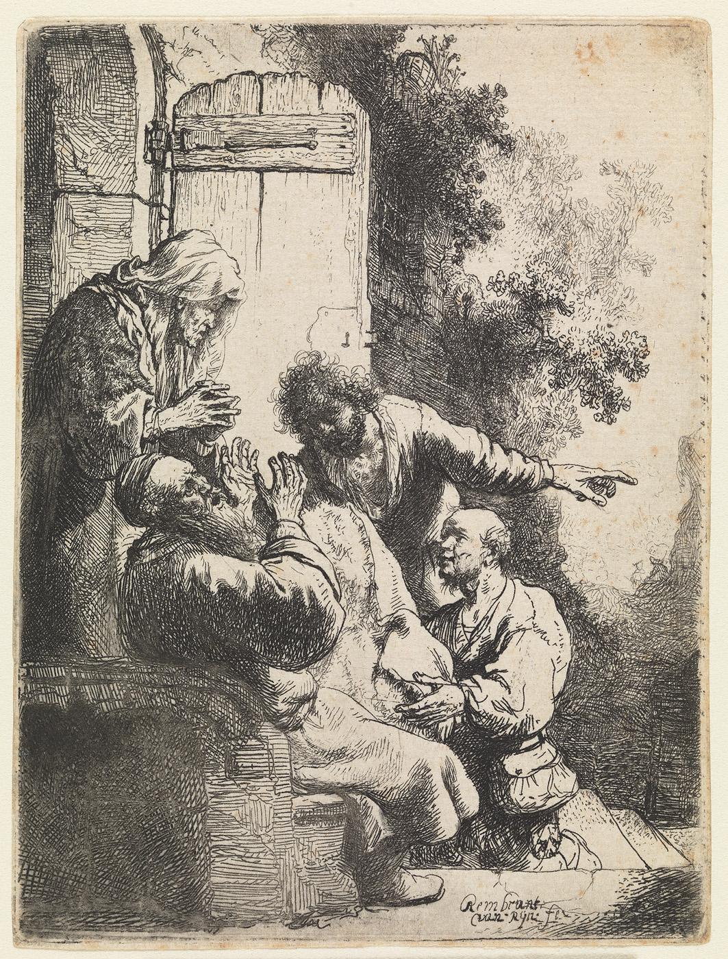 Jakob over Jozefs gewaanden dood weenende