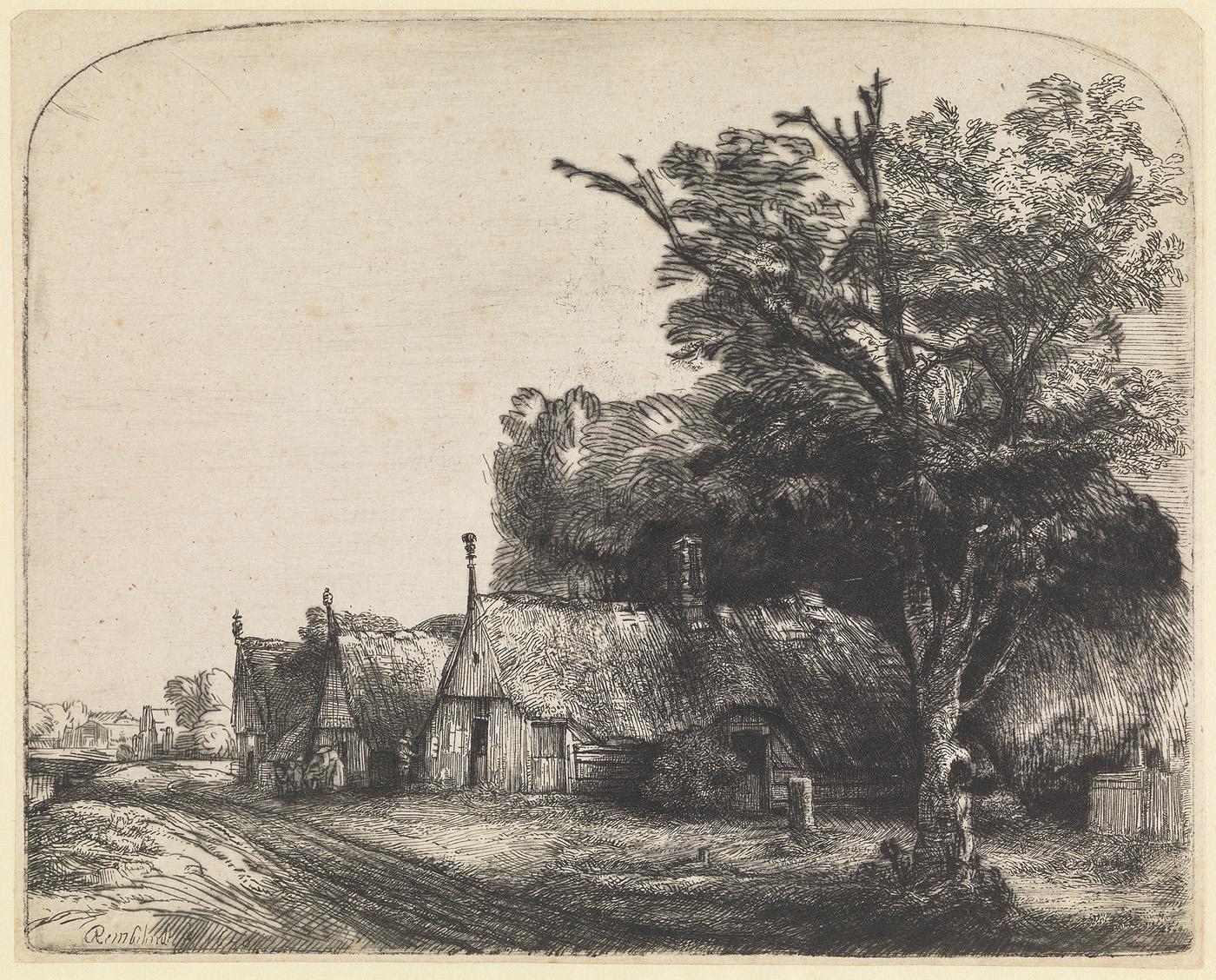Landschap met drie boerderijen langs een weg