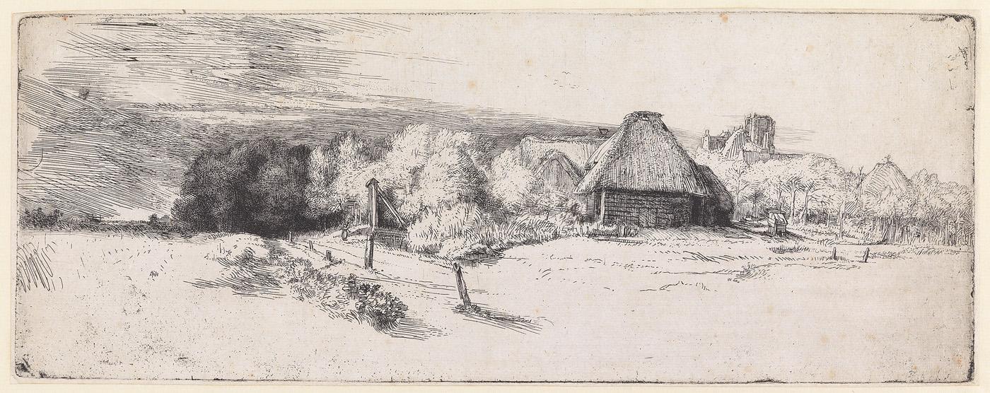 Het landschap met boerderij, ophaalbrug en toren