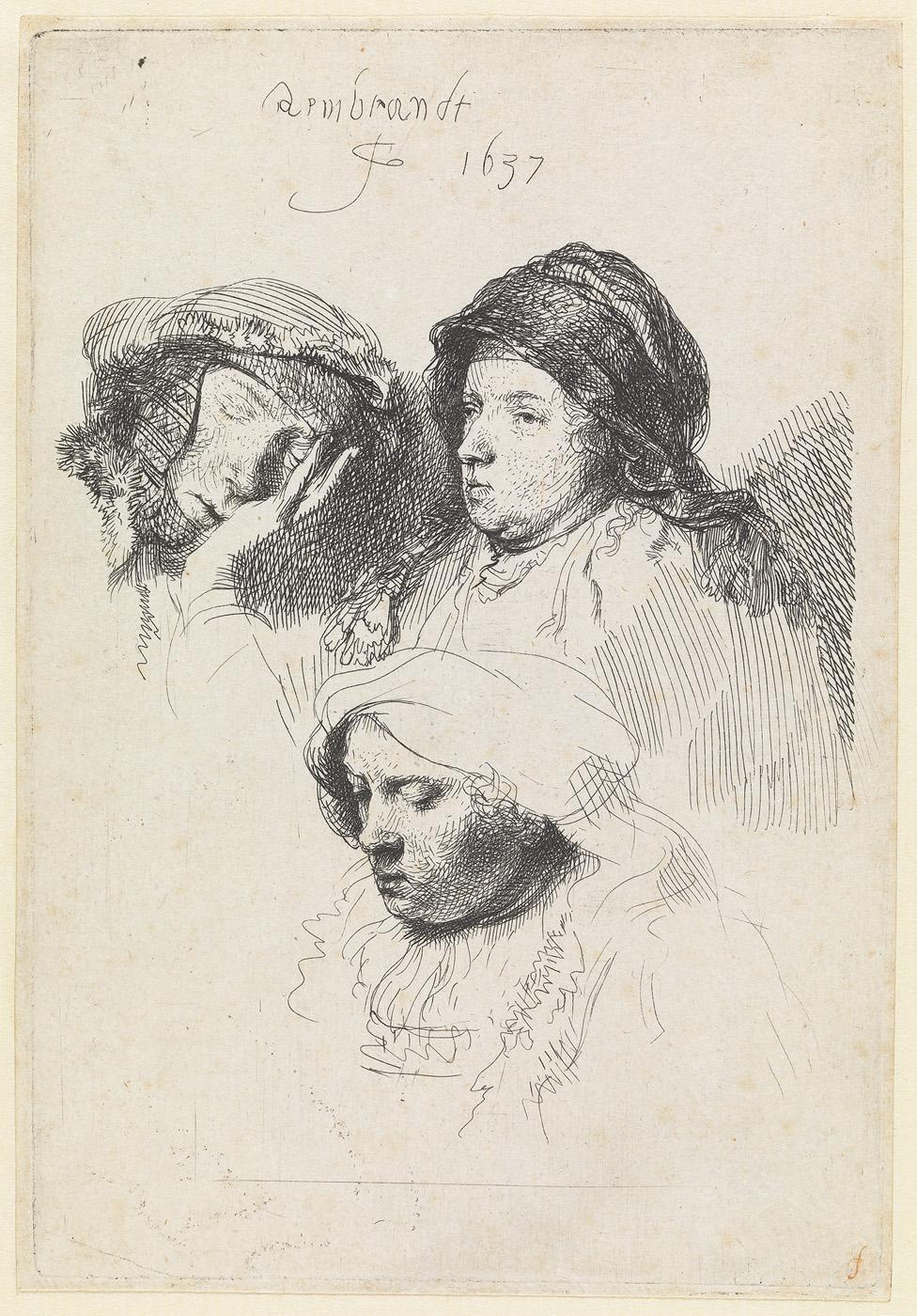 Drie vrouwenhoofden waaronder een slapende