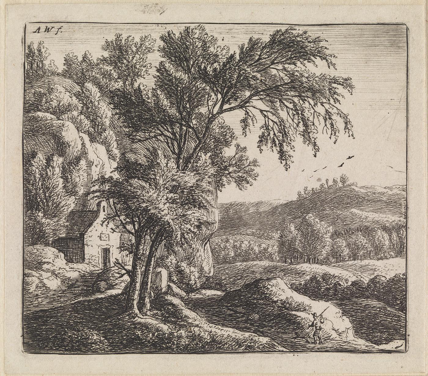 Landschap met huis bij rotswand