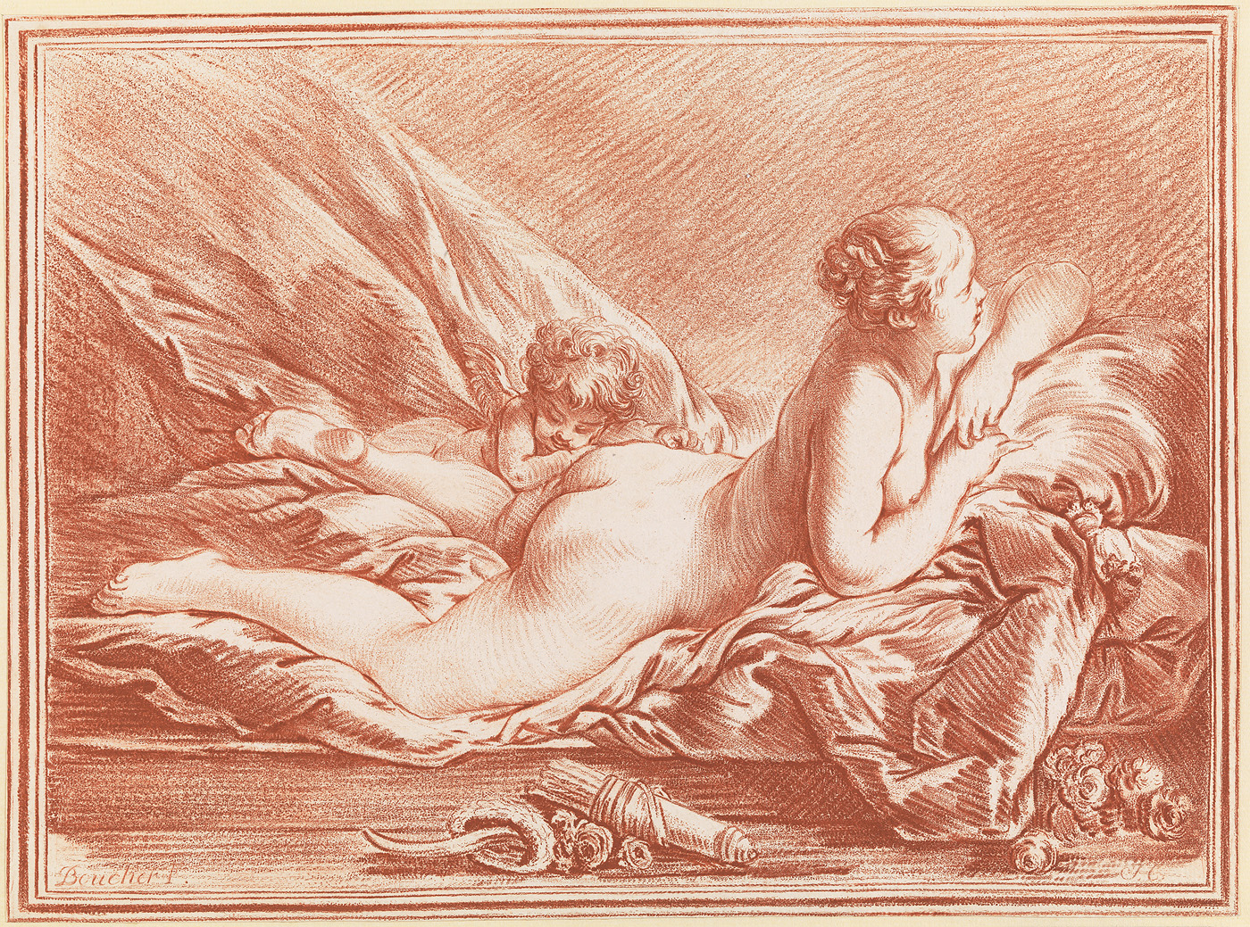 Op een bed op haar buik liggende naakte vrouw. Gedeeltelijk over haar heen ligt een slapende putto